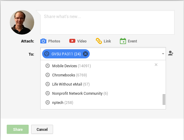 Google+ Post Sharing Options