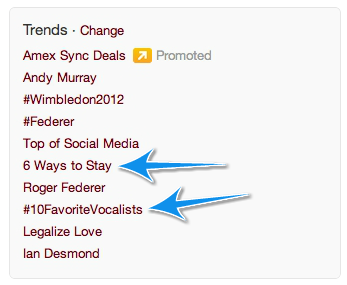 Example of Twitter Trending Feature
